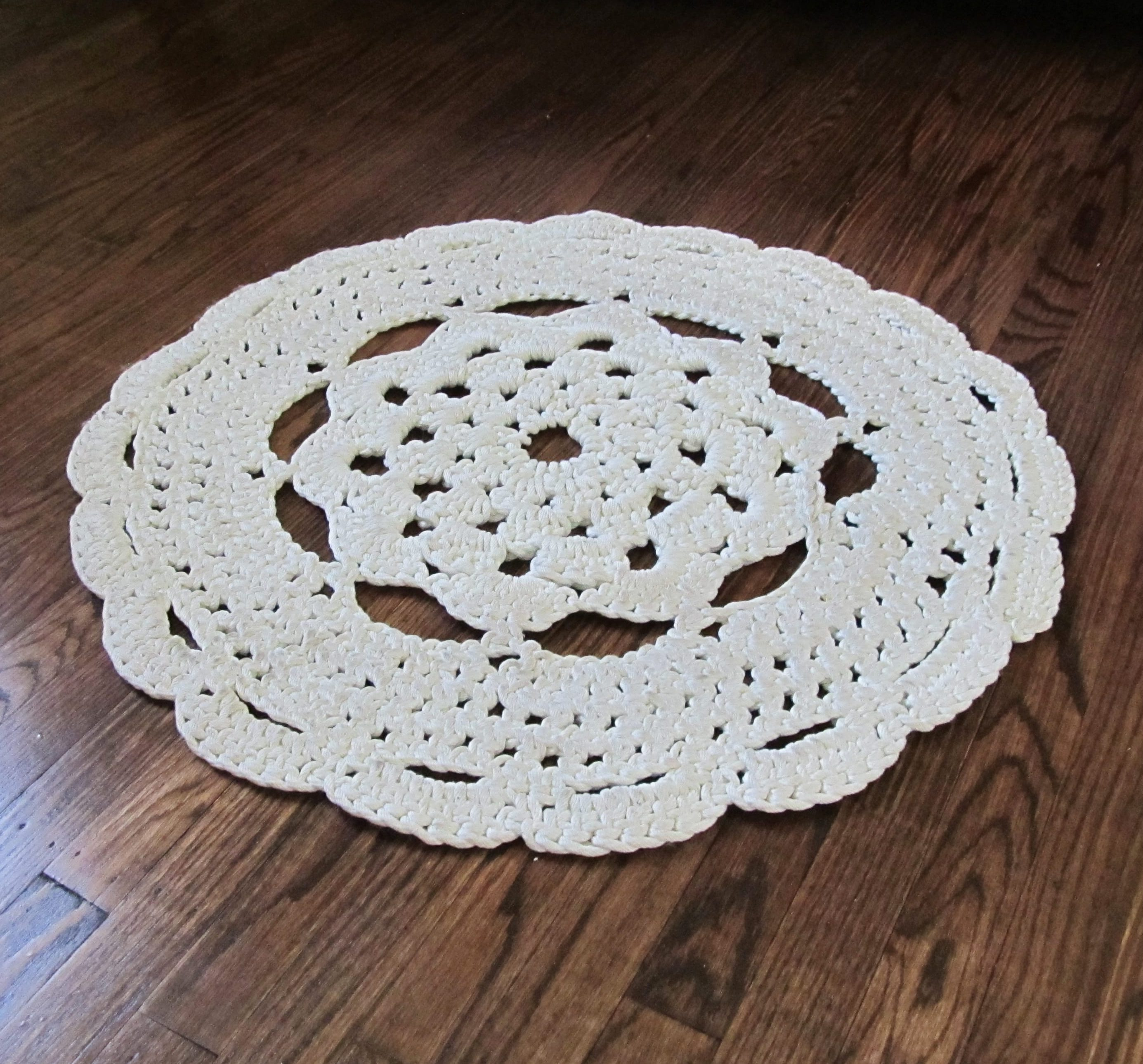 I Searched Around To Find A Great Doily Pattern Adapt Into Rug Wanted There Be Some Open Es In The So Wouldn T Have Too Much