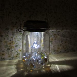 Mason Jar lantern glowing