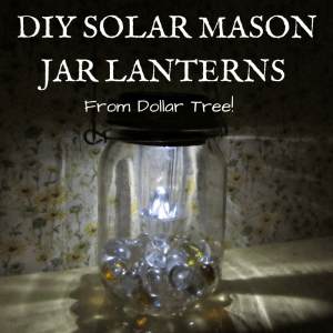 Hanging solar mason jar lights from dollar tree