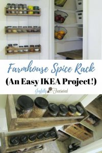 Make A Farmhouse Style Pantry Spice Rack Using Stained Ikea Spice Racks.  Easy Pantry Organization
