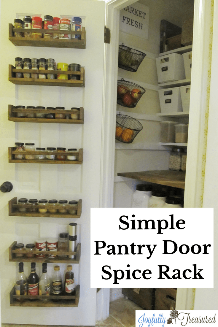 Wood Spice Rack Pantry Door Makeover Joyfully Treasured