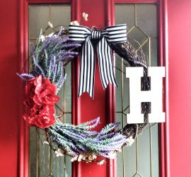 Grapevine Lavender wreath with black and white striped grosgrain ribbon