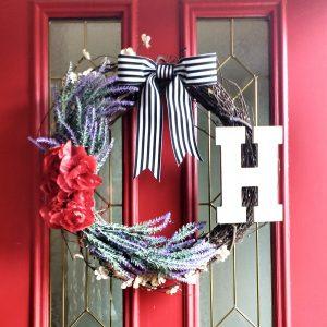 Grapevine Lavender wreath with black and white striped grosgrain ribbon