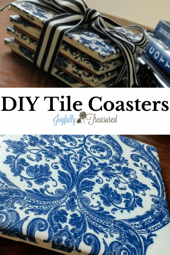 How to make coasters out of ceramic tiles, easy DIY coasters with napkins