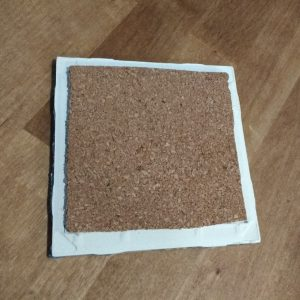 Glue cork backing 2 ceramic tile to make DIY tile coasters