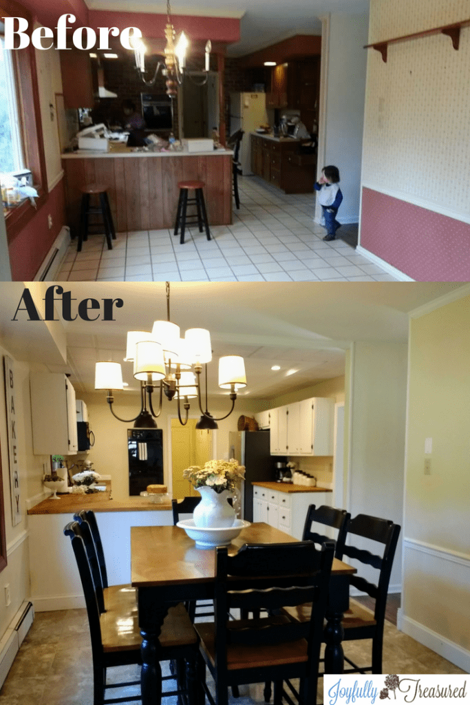 Farmhouse style kitchen remodel. We combined diy with professional help to remodel our kitchen on a budget. #diykitchen #homediy #farmhousekitchen #beforeandafter