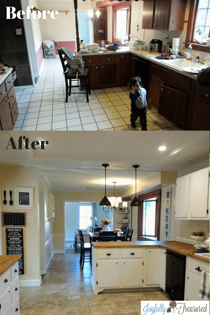 Farmhouse Kitchen Renovation Before And After Joyfully