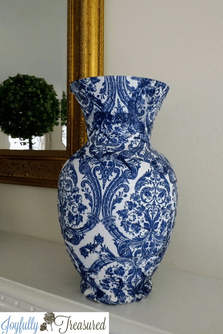 Decoupage Vases With Napkins Blue And White Chinoiserie