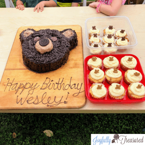 Teddy Bear Picnic Birthday Party DIY dessert ideas. Chocolate teddy bear cake and teddy graham cupcakes for a children's teddy bear picnic party #birthdaycake #party #partythemes
