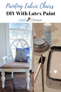Painting fabric chairs with latex paint and fabric medium. Easy DIY method for painting over upholstery #paintprojects #paintanything #homediy #frenchcountry #DIY #budgetdecor #makeover #beforeandafter