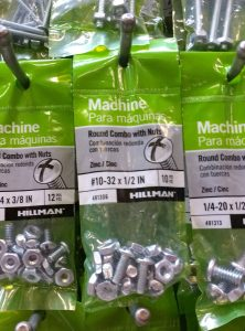Nuts and bolts to make curtain brackets
