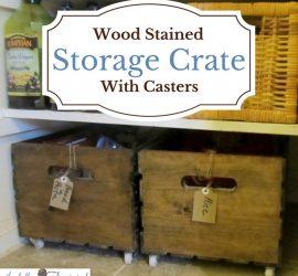 Wood Pantry Storage Crate on Wheels