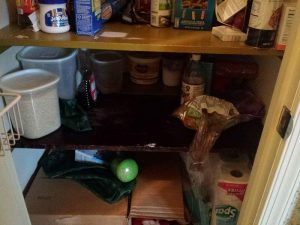 The dark cluttered pantry