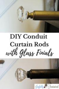 Create DIY conduit curtain rods with glass finials using simple supplies