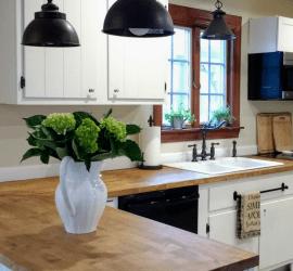 kitchen with butcher block countertops