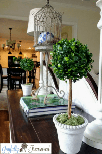Boxwood topiary decor in living room