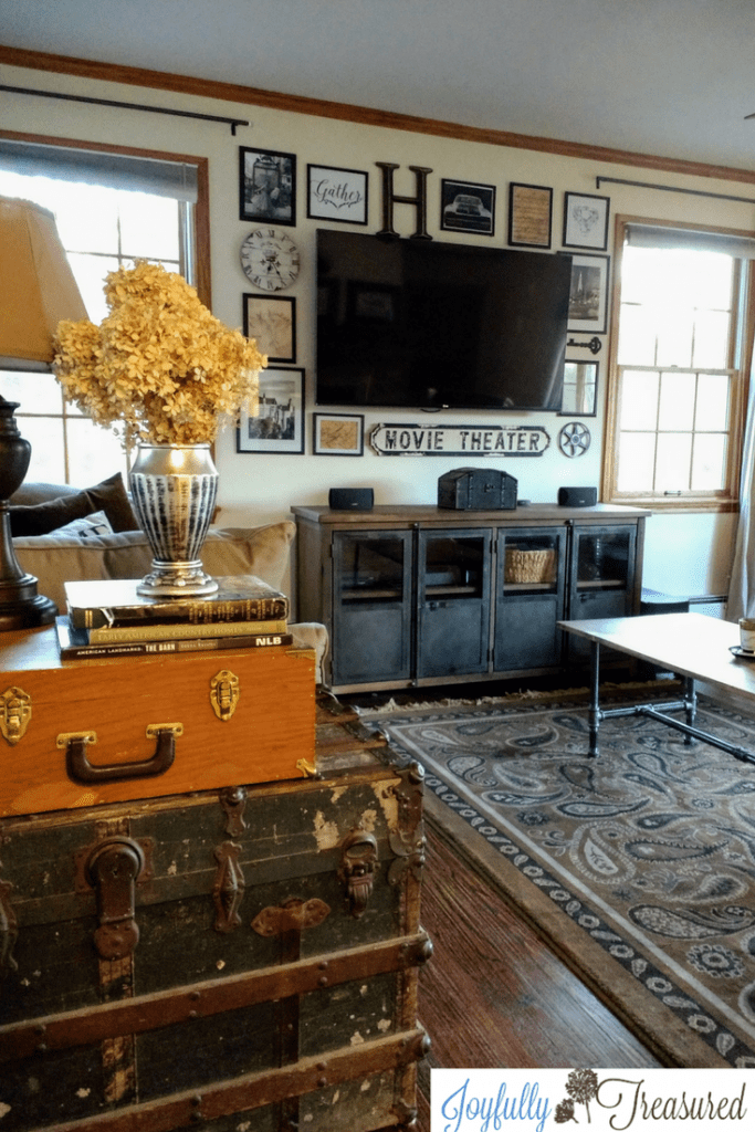 Vintage Trunk suitcase end table and tv Wall decor