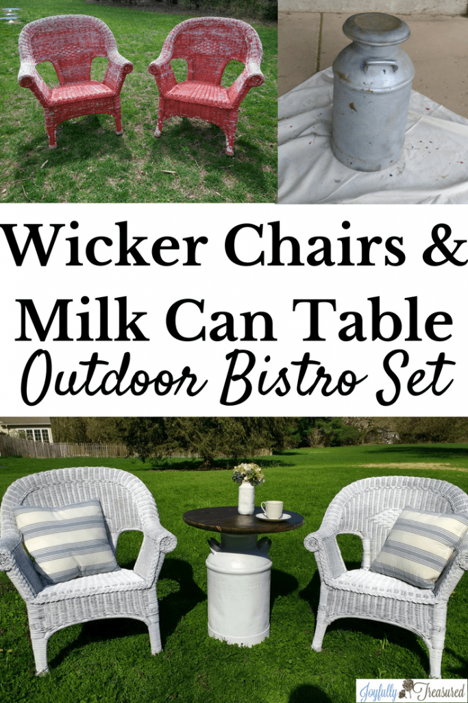 Before and after transformation of wicker chairs and milk can table