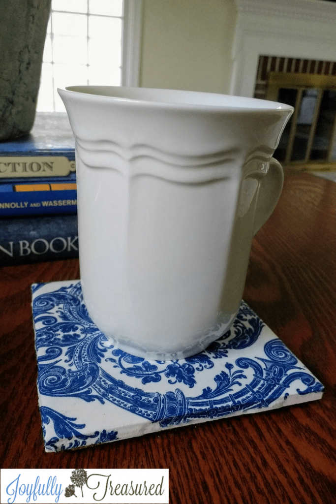 Ceramic tile and napkin coasters diy craft idea