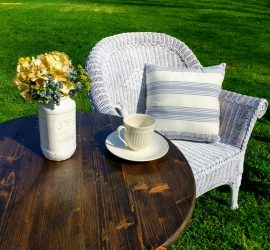 milk can table and wicker chair bistro set