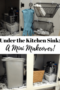 An under the kitchen sink organization makeover for our farmhouse kitchen with dollar tree supplies. Quick and easy home diy project
