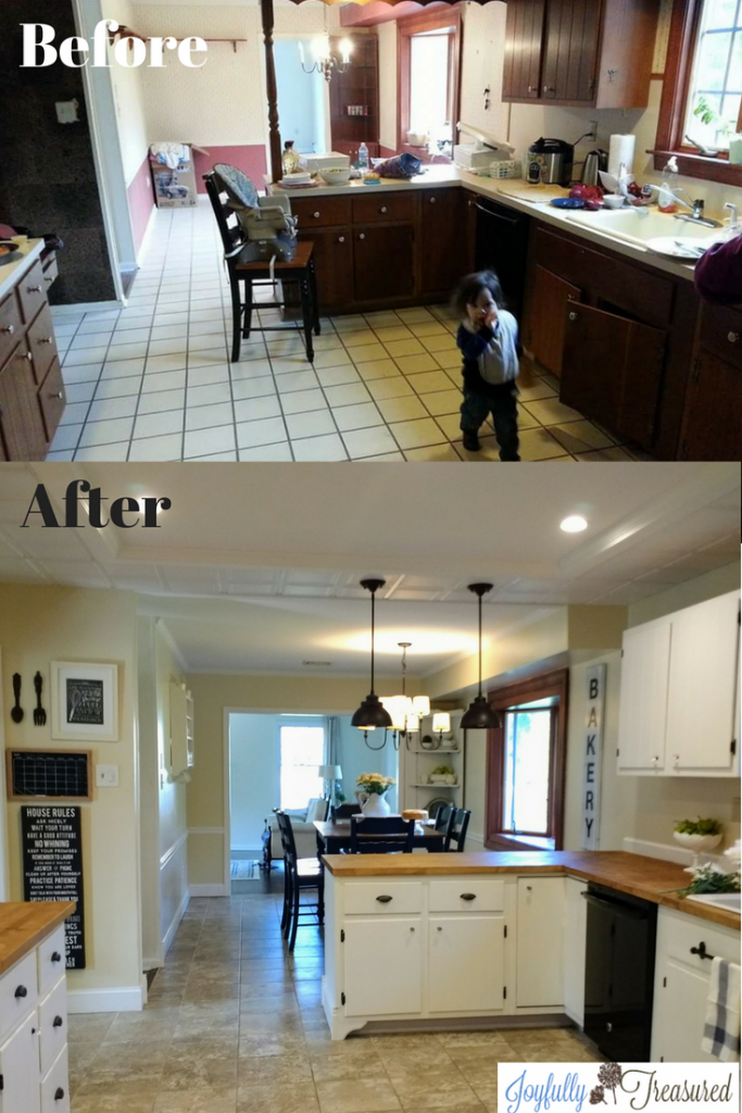 dated 1960s kitchen renovation on a budget. Farmhouse kitchen makeover ideas and inspiration. #homediy #kitchenmakeover #beforeandafter #remodels #farmhousekitchen