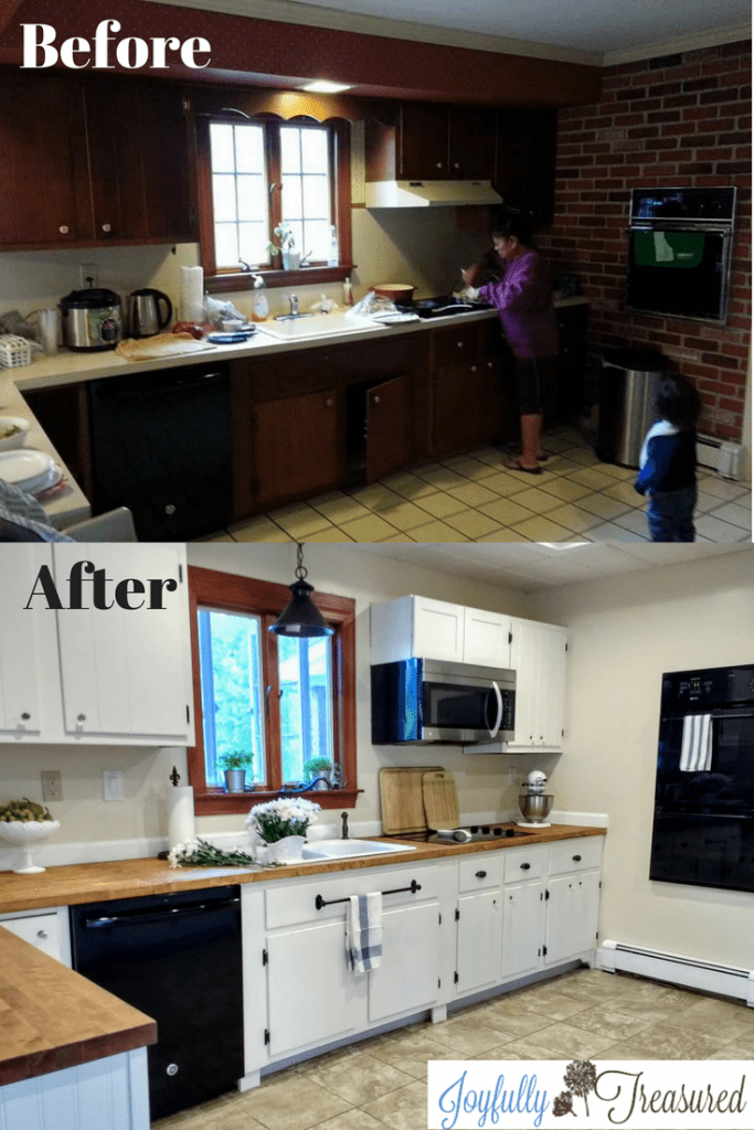 Our Farmhouse kitchen remodel before and after. What we DIYed and how we saved on our budget renovation. #kitchenmakeover #homediy