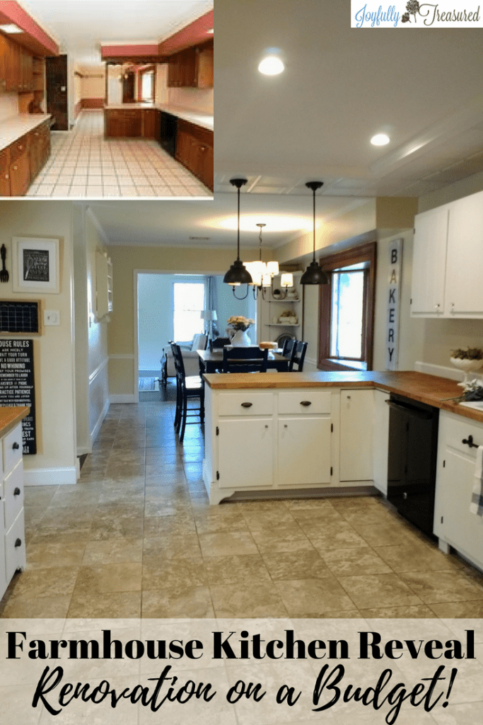 Our kitchen remodel before and after! All about the DIY portion of our kitchen renovation,as well as all the ways we saved money on our budget kitchen remodel.