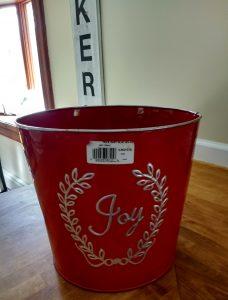 Christmas planter spray painted to create a neutral olive tree Planter for farmhouse decor