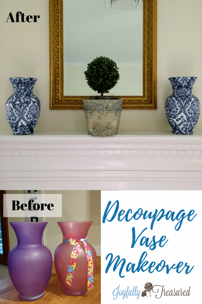 Decoupage vase makeover before and after, transform dollar store vases with napkins and modpodge. Easy diy home decor craft idea. Chinoiserie inspired vases for mantel and shelf decor. #homedecor #crafts #beforeandafter #dollarstore #decopauge