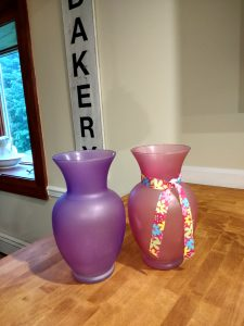 Thrift store decoupage vases before photo