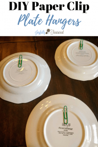 How to hang plates on the wall, DIY plate hangers with paper clips, felt, and hot glue #homediy #budgetdecor #farmhousedecor #walldecor #DIY
