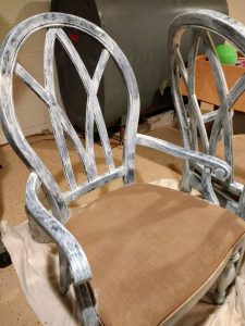 Painting fabric chairs, Paint over painted wood with latex with a gripping primer. #paintprojects #diy