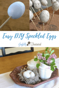 Easy diy spring room decor. Make decorative speckled eggs for spring centerpieces and vignettes around the house. This quick craft takes just minutes to put together. #springdecor #craftideas #easterdecor #springcrafts #eastercrafts