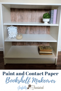 Makeover laminate furniture with paint and contact paper. A cute update on a budget! #furnitureflip #makeover #furnituremakeover #budgetdecor #ikeahacks