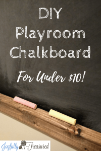 DIY Kids Chalkboard Wall, Easy Playroom Chalkboard with rustic farmhouse charm for under $10! #chalkboard #budgetdecor #playroom #homediy #diydecor #farmhousestyle