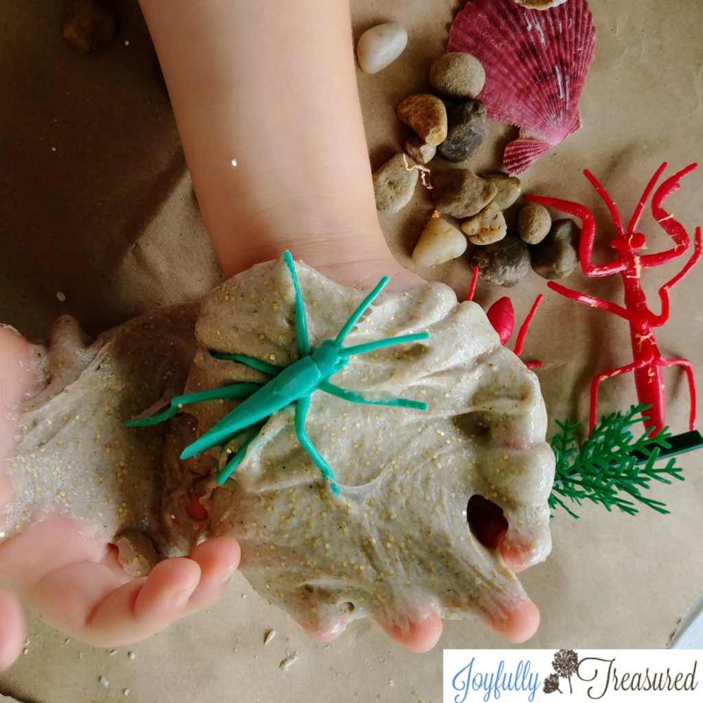 Make and take sand slime, simple camping, beach, or lake themed birthday party activity idea