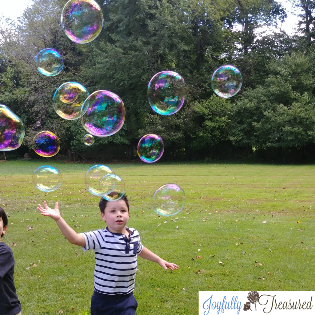 Giant bubbles, easy summer birthday party idea