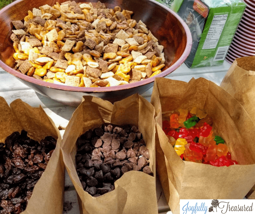 No fuss diy trail mix station for a camping themed birthday party.
