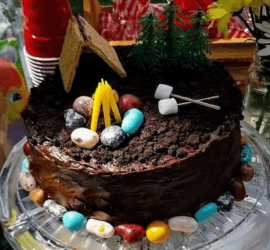 camping themed birthday cake, quick and easy camping themed birthday party ideas