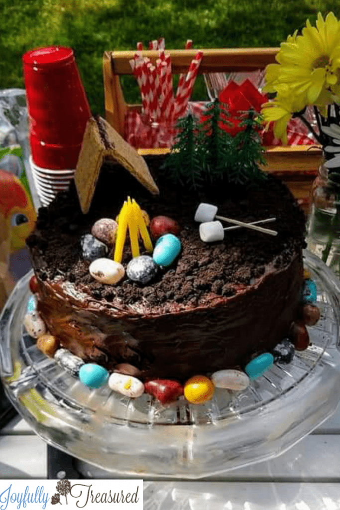 Camping themed birthday cake. A quick and easy camping themed birthday party in the backyard.