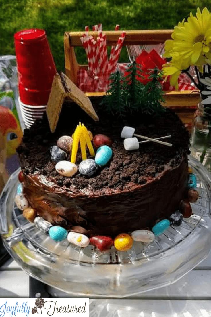 camping themed birthday cake - Joyfully Treasured