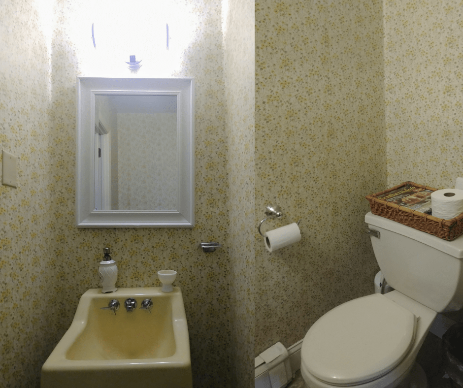 $100 room challenge 1960's powder room makeover before photos