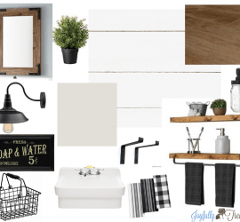 1960's Powder Room Makeover $100 Room Challenge Mood Board