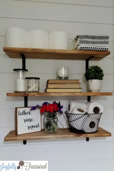 Farmhouse Shelves Above the Toilet (for less than $20!)