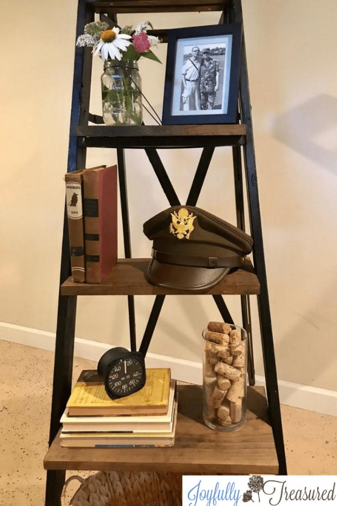 Old Wooden Ladder Shelf Simple Upcycled Ladder Idea Joyfully Treasured