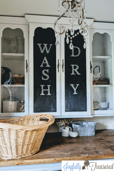 Over Washer Dryer Storage Idea: Mount a Hutch Top to the Wall!